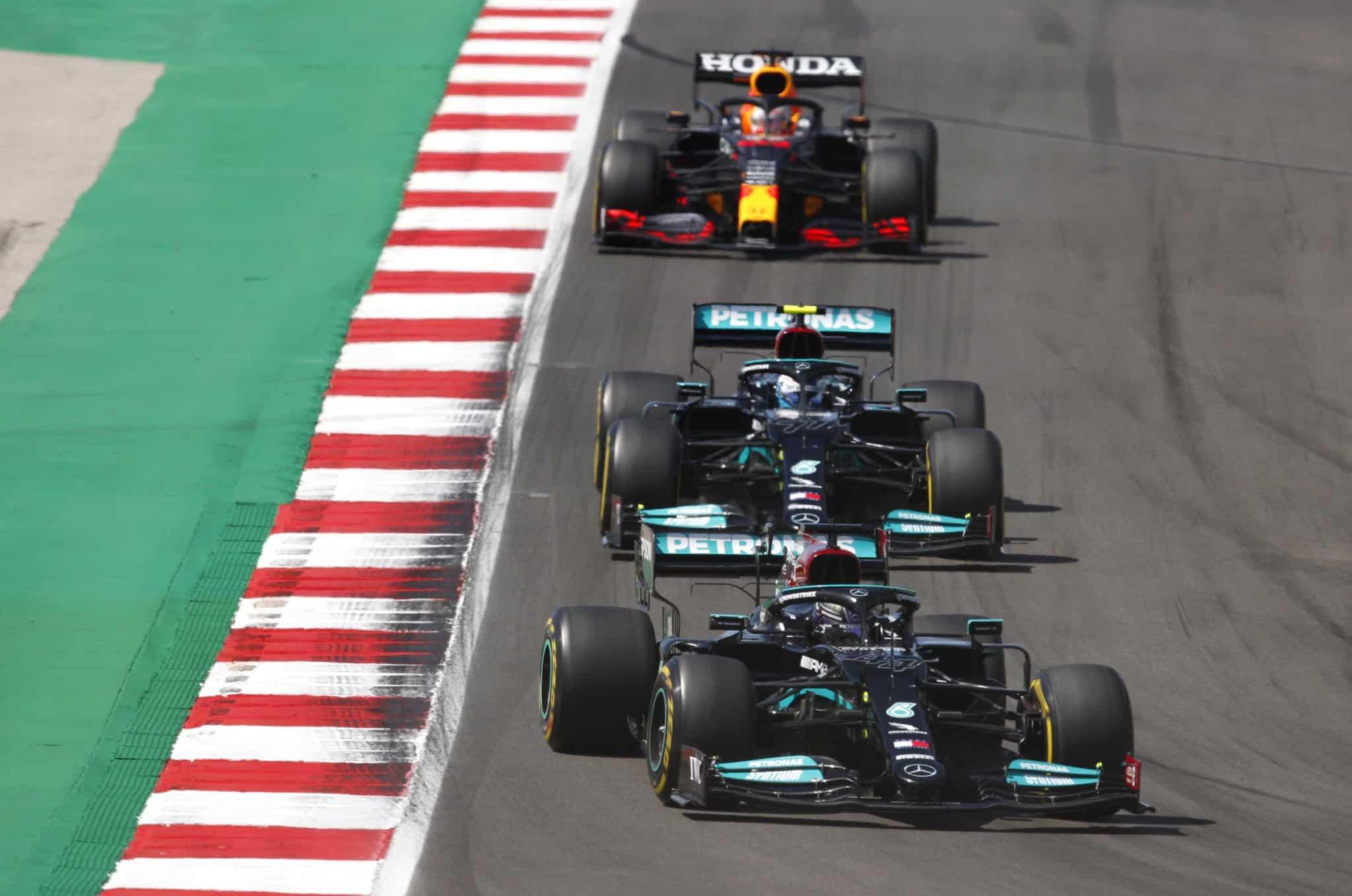 2021 Portuguese GP Hamilton Mercedes leads Bottas Mercedes Verstappen Red Bull Photo Daimler