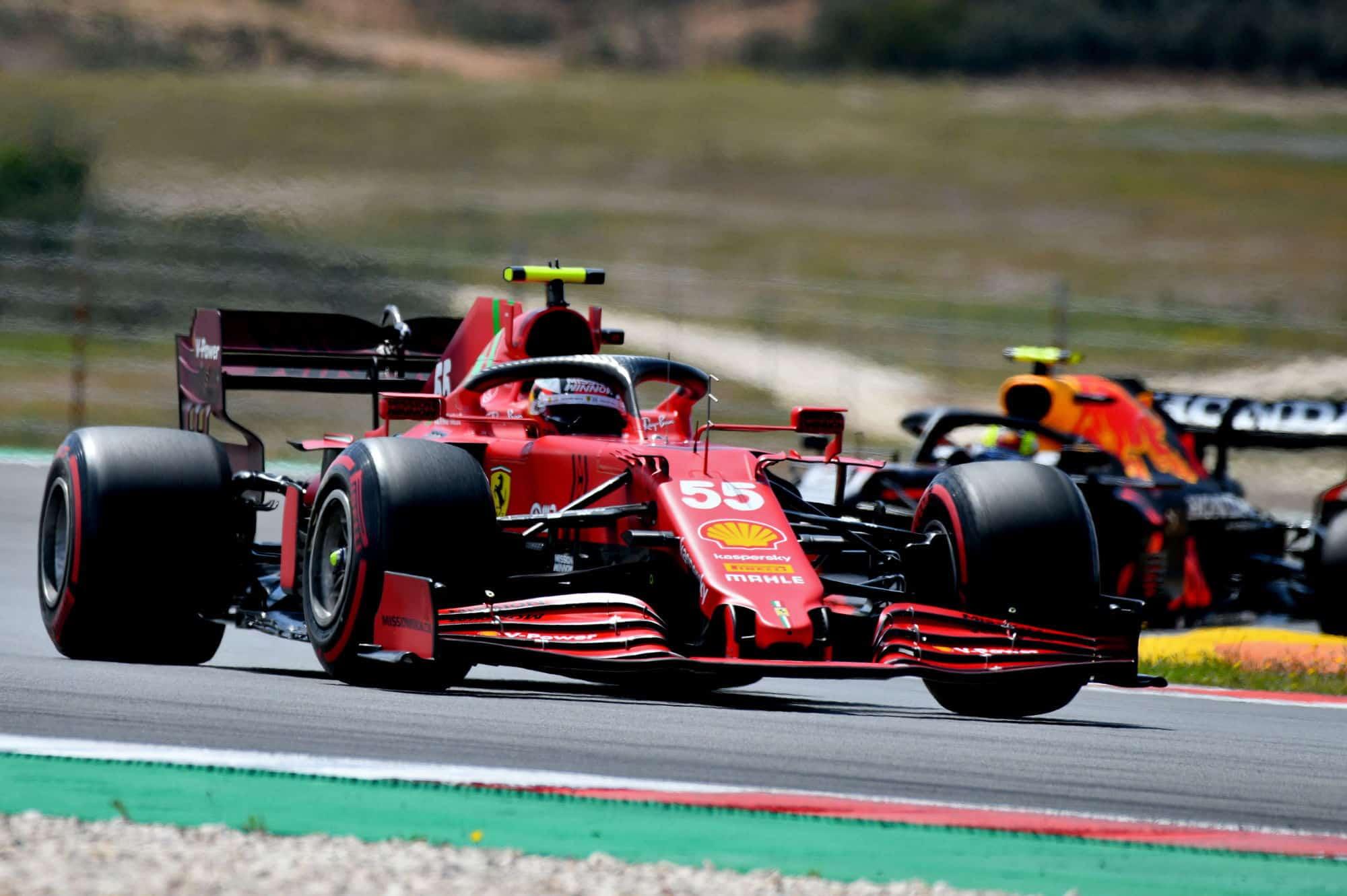 2021 Portuguese GP Podium Sainz Ferrari leads Perez Red Bull Photo Ferrari