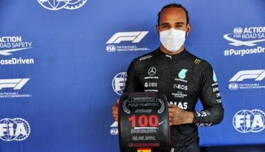 2021 Spanish GP Hamilton 100th pole position Photo Daimler