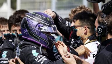 2021 Spanish GP Hamilton celebrates victory Photo Daimler