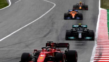 2021 Spanish GP Leclerc leads Bottas Ricciardo Perez first stint Photo Ferrari