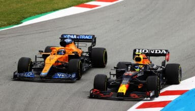 2021 Spanish GP Perez battles Ricciardo Turn 1 and 2 Photo Red Bull