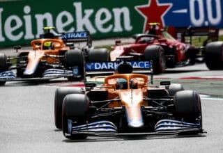 2021 Spanish GP Ricciardo leads Norris and Sainz Photo McLaren
