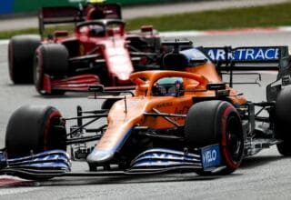 2021 Spanish GP Ricciardo leads Sainz Photo McLaren
