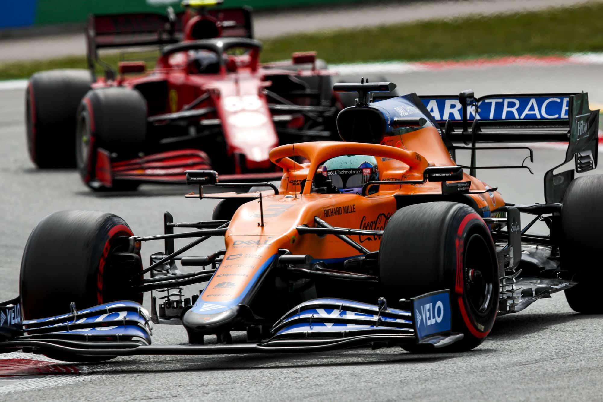 2021 Spanish GP Ricciardo leads Sainz Photo McLaren