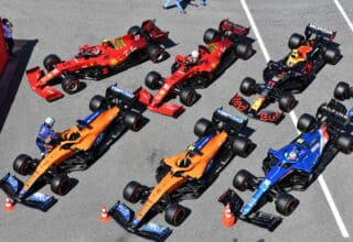 2021 Spanish GP Sainz Norris Leclerc Ricciardo Perez Ocon parc ferme after qualifying cars top view Photo McLaren