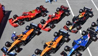 2021 Spanish GP Sainz Norris Leclerc Ricciardo Perez Ocon parc ferme after qualifying cars top view Photo McLaren
