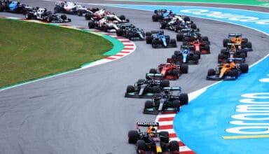 2021 Spanish GP start Verstappen leads Hamilton Photo Red Bull