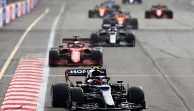 2021 Azerbaijan GP Gasly AlphaTauri leads Leclerc Tsunoda Norris Sainz Ricciardo Photo Red Bull