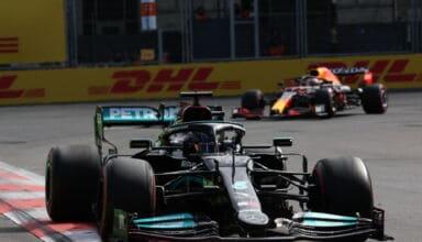 2021 Azerbaijan GP Hamilton leads Verstappen Photo Daimler