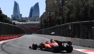 2021 Azerbaijan GP Leclerc Ferrari corner exit Photo Ferrari