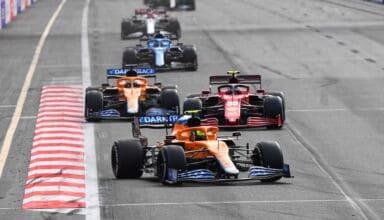 2021 Azerbaijan GP Norris leads Sainz Ricciardo Alonso Raikkonen Photo McLaren