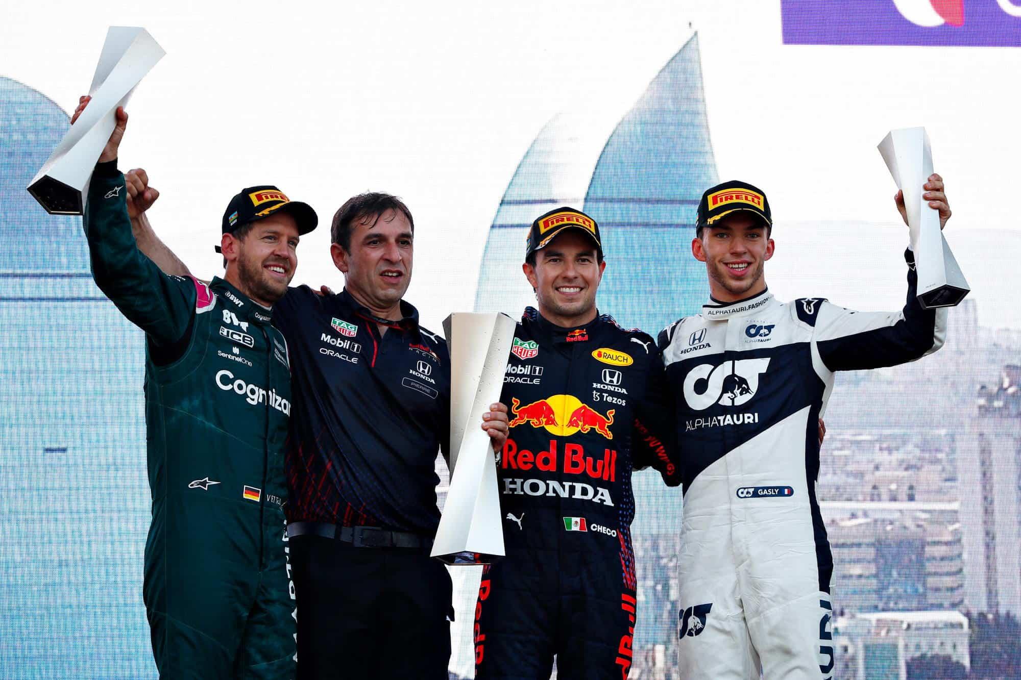 2021 Azerbaijan GP Perez celebrates on the podium with Vettel and Gasly Photo Red Bull