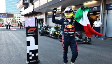 2021 Azerbaijan GP Perez celebrates victory Photo Red Bull