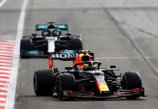 2021 Azerbaijan GP Perez leads Hamilton in the race hard Pirelli C3 tyres Photo Red Bull
