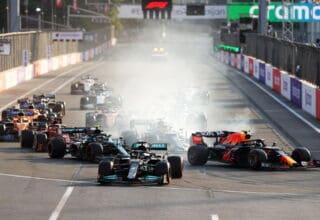 2021 Azerbaijan GP late restart Hamilton mistake Turn 1 late braking Photo Red Bull