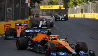 2021 Azerbaijan GP race train of cars Norris leads Ricciardo Raikkonen Giovinazzi Photo Pirelli