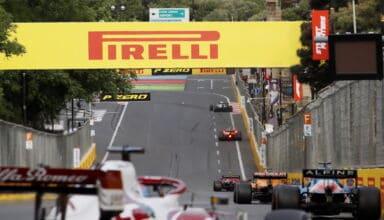 2021 Azerbaijan GP race train of cars Photo Pirelli