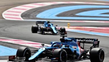 2021 French GP Alonso leads Ocon Friday Photo Alpine