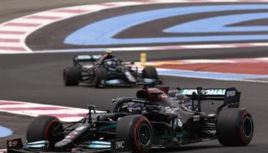 2021 French GP Hamilton leads Bottas Mercedes saturday Photo Daimler