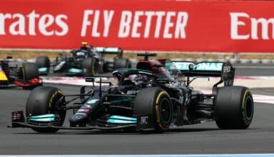 2021 French GP Hamilton leads Verstappen Bottas in the race Photo Daimler