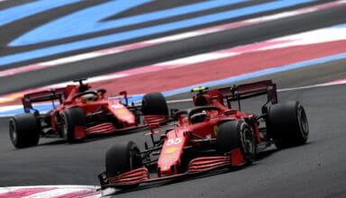 2021 French GP Sainz and Leclerc Ferrari hard C2 Pirelli race Photo Ferrari