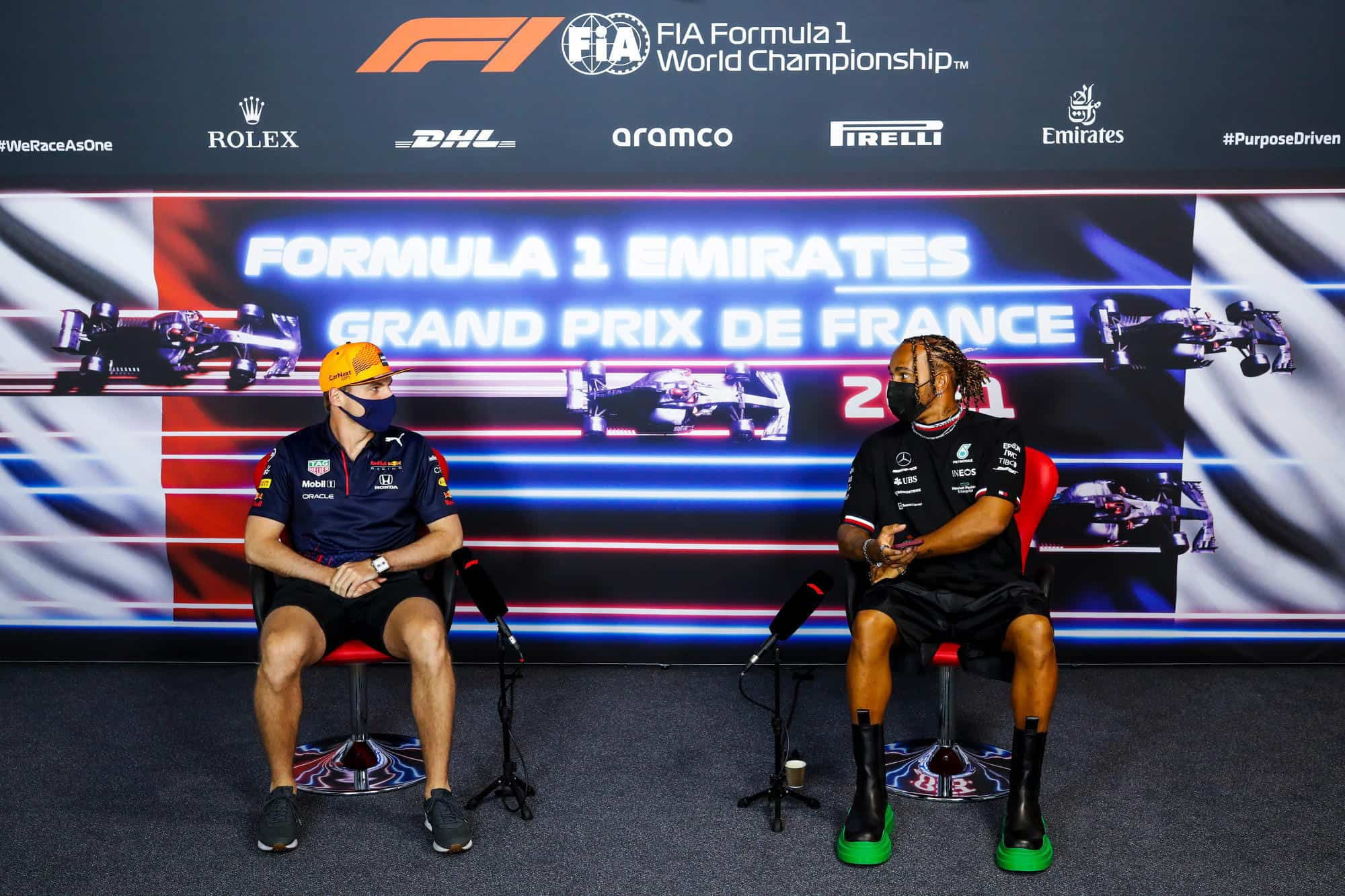 2021 French GP Thursday press conference Verstappen and Hamilton Photo Red Bull