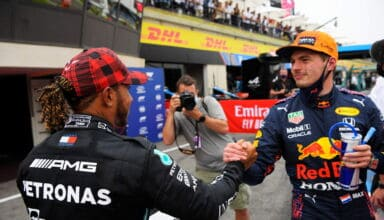 2021 French GP Verstappen Red Bull Honda RB16B and Hamilton Mercedes F1 W12 after qualifying Photo Red Bull