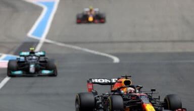 2021 French GP Verstappen Red Bull leads Bottas Mercedes and Perez Red Bull Photo Red Bull