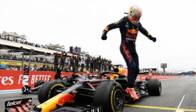 2021 French GP Verstappen Red Bull wins the race in front of Hamilton Mercedes parc ferme Photo Red Bull