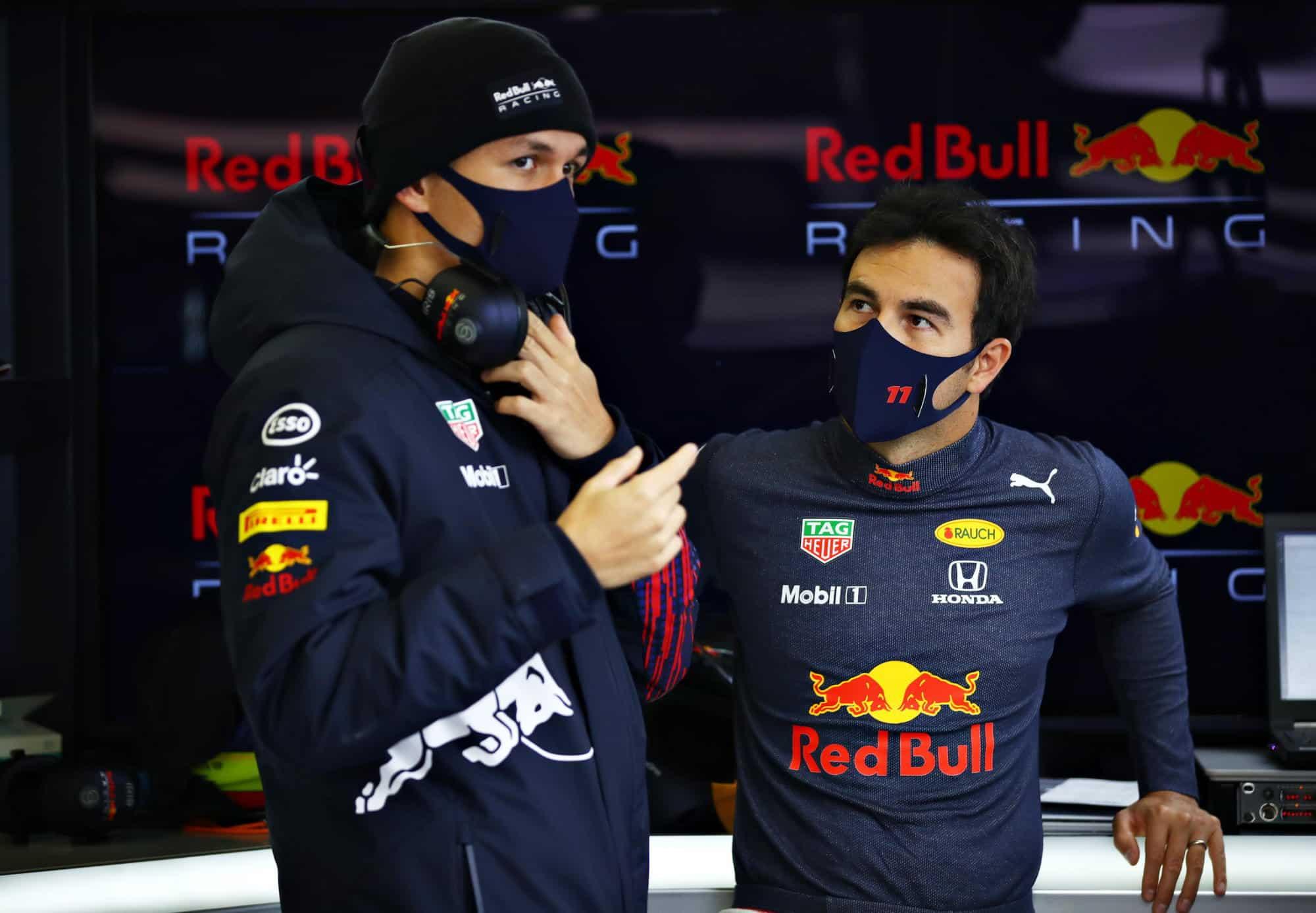 2021 Perez and Albon Red Bull garage Photo Red Bull