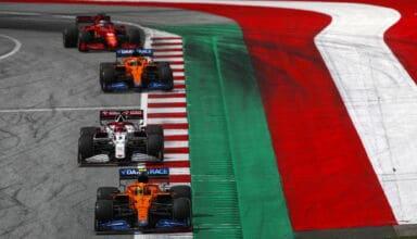 2021 Styrian GP Norris leads Raikkonen Ricciardo and Leclerc Photo McLaren