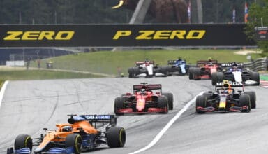 2021 Austrian GP Ricciardo leads Perez Leclerc Photo McLaren