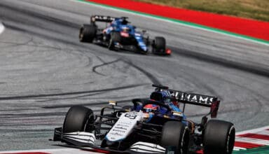 2021 Austrian GP Russell leads Alonso Photo Williams