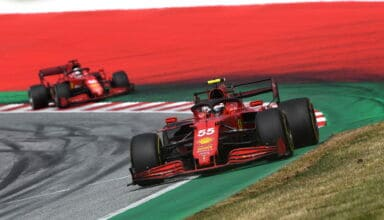 2021 Austrian GP Sainz leads Leclerc Photo Ferrari