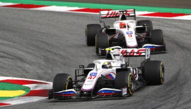 2021 Austrian GP Schumacher leads Mazepin in the race Photo Haas