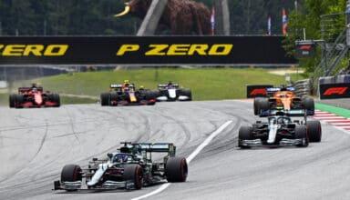 2021 Austrian GP Stroll leads Vettel Aston Martin last two corners Photo Aston Martin