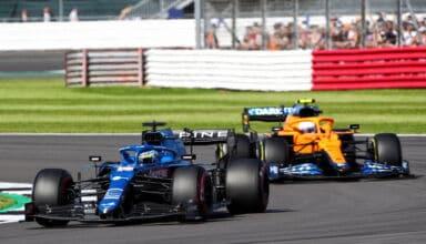 2021 British GP Alonso leads Norris Photo Alpine