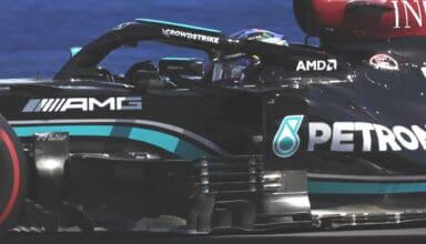 2021 British GP Hamilton Mercedes F1 W12 side shot bargeboards Photo Daimler