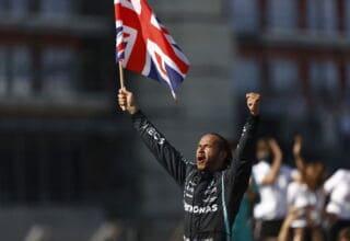 2021 British GP Hamilton Mercedes celebrating victory Photo Daimler