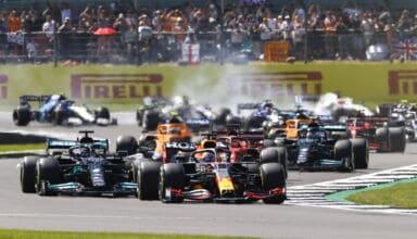 2021 British GP Hamilton Verstappen first lap Photo Daimler