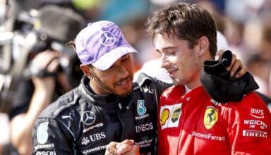 2021 British GP Hamilton and Leclerc after the race embrace Photo Daimler