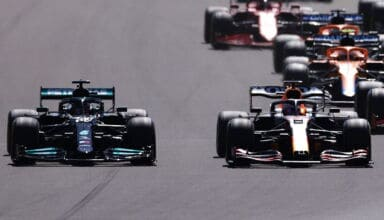 2021 British GP Hamilton and Verstappen duel first lap Photo Daimler Edited by MAXF1net