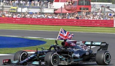 2021 British GP Hamilton celebrates victory with British flag Photo Daimler