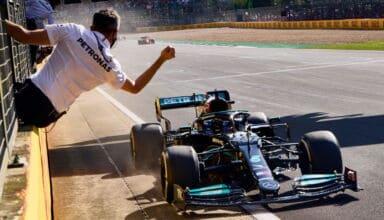 2021 British GP Hamilton crosses the finish line Photo Daimler