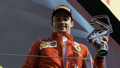 2021 British GP Leclerc Ferrari on the podium with the trophy Photo Ferrari
