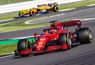 2021 British GP Leclerc leads Norris Photo Ferrari