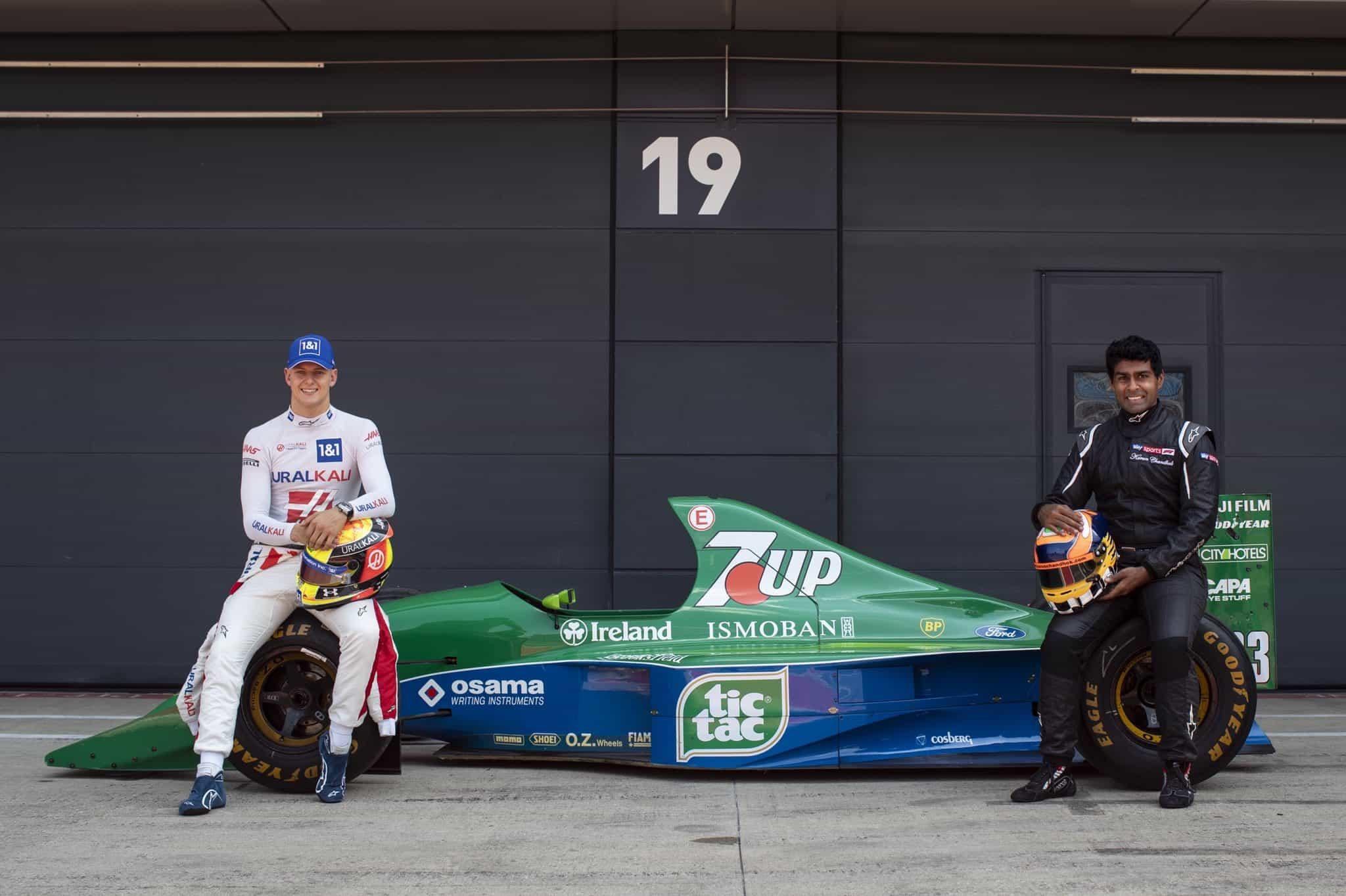 2021 British GP Mick Schumacher and Karun Chandok Jordan 191 Photo Haas