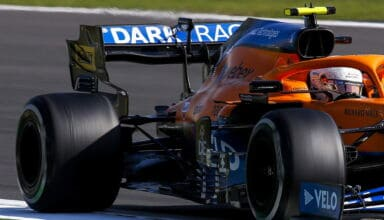 Lando Norris, McLaren MCL35M, on a straight