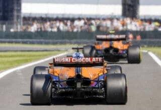 2021-British-GP-Norris-and-Ricciardo-McLaren-MCL35M-pitlane-exit-rear-end-diffuser-engine-cover-Photo-McLaren